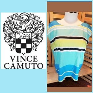VINCE CAMUTO STRIPPED SLEEVELESS BLOUSE